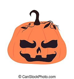 happy halloween, horror face pumpkin trick or treat party celebration flat icon