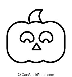 happy halloween, horror face pumpkin trick or treat party celebration linear icon design