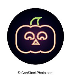 happy halloween, horror face pumpkin trick or treat party celebration neon icon style
