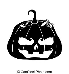 happy halloween, horror face pumpkin trick or treat party celebration silhouette icon