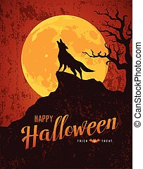 Happy Halloween howling wolf on the moon rough surface