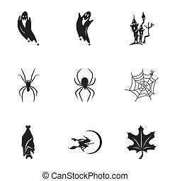 Happy Halloween icon set, simple style