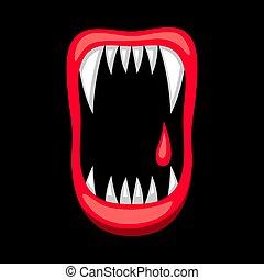Happy halloween illustration of angry jaws with teeth....