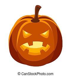 Happy halloween illustration of angry pumpkin.