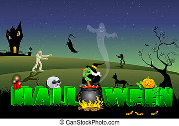 happy halloween - illustration of halloween text with witch ...