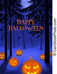 Happy Halloween illustration poster or postcard art...
