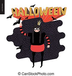 Halloween, illustration with a waving girl