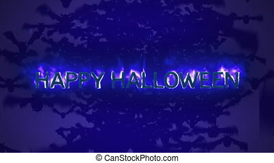 Happy Halloween in flames on blue background