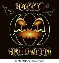Happy Halloween invitation card with pumpkin, vector illustration