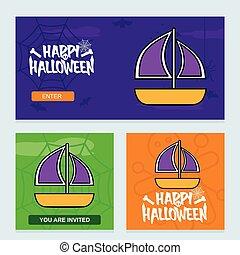 Happy Halloween invitation design with boat vector