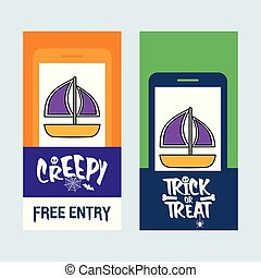 Happy Halloween invitation design with boat vector