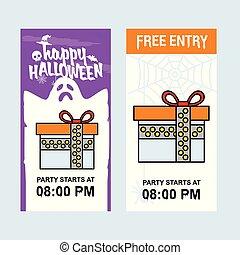Happy Halloween invitation design with giftbox vector