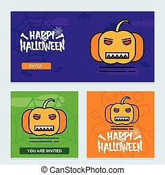 Happy Halloween invitation design with pumpkin vector