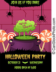 Happy halloween invitation poster with witches cauldron