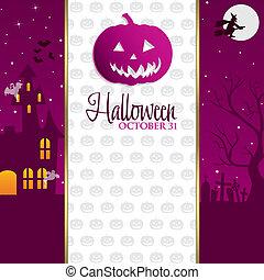 Happy Halloween! - Jack o' Lantern Halloween invitation card...