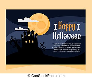 happy halloween lettering card with haunted castle at night scene