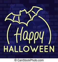 happy halloween lettering in neon light with bat flying