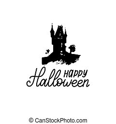 Happy Halloween lettering with dark house vector illustration for party invitation card, poster. All Saints Eve background.
