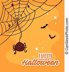 happy halloween lettering with spider and bats flying