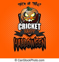 Happy Halloween. Template cricket design. Logo cricket ball in the form of a pumpkin on an isolated background. Pattern for banner, poster, greeting card, flyer, party invitation. Vector illustration