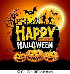 Happy Halloween message design with pumpkins