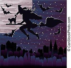 Happy Halloween night background, vector illustration
