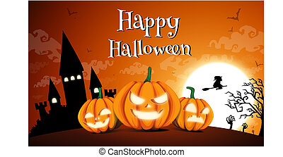 Happy Halloween night background with dark castle and pumpkins, Vector illustration.