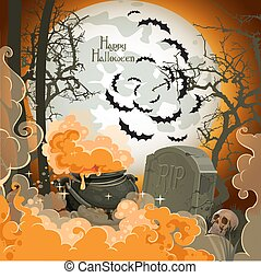 Happy Halloween Night of 31 October - pot of potion on the full moon in the cemetery