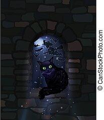 Happy Halloween night wallpaper with black cat, vector illustration
