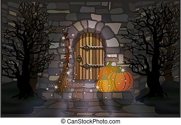 Happy Halloween night wallpaper with pumpkin and witch broomstick, vector illustration