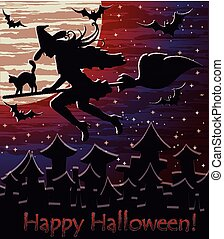 Happy Halloween night witch background, vector illustration