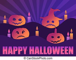 Happy Halloween, October 31st. Greeting card with Scary pumpkins and candles. Background with rays. Vector illustration