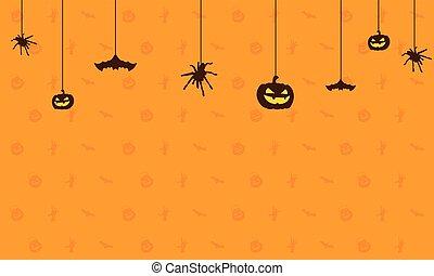 Happy Halloween on orange background