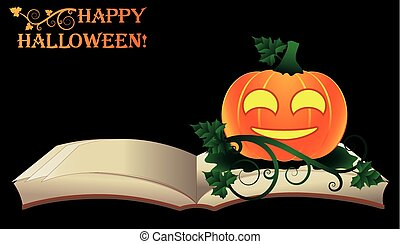Happy Halloween. Open old book