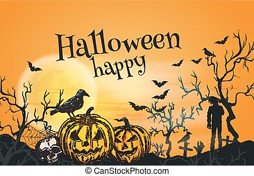 Happy Halloween orange greeting card template