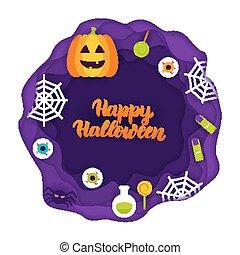 Happy Halloween Papercut Concept. Vector Illustration. Trick...