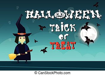 Happy Halloween Party Banner Trick Or Treat Holiday Celebration Greeting Card Concept