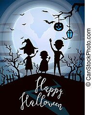 Happy Halloween party banner with kids silhouettes