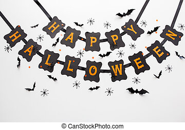 happy halloween party black garland and decoration