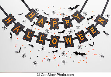 happy halloween party black paper garland