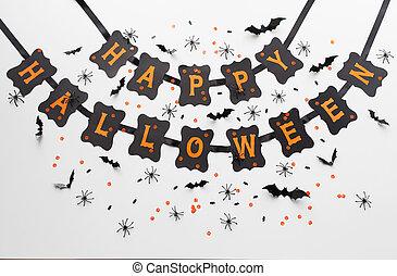 happy halloween party black paper garland