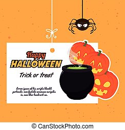 Happy halloween party festival card design, vector...