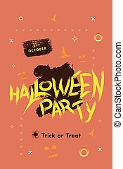 Happy Halloween Party flat poster. Vector illustration.