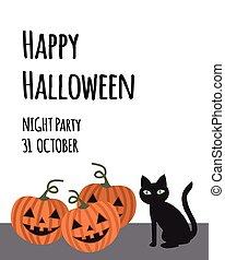 Happy Halloween party invitation card for holidays. Three pumpkin with black cat, simple flat cartoon vector