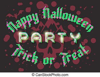 Happy Halloween party lettering retro poster