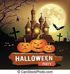 Happy Halloween party message, pumpkin, bat design