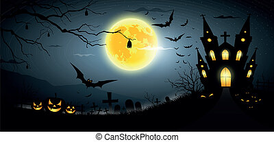 Happy Halloween party scary background, vector illustration