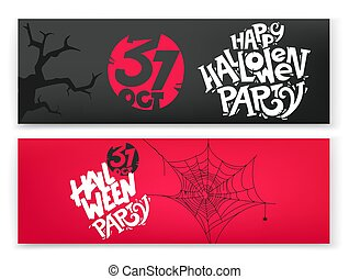 Happy Halloween party vector banners set