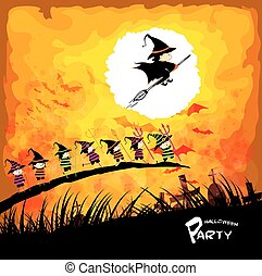Happy Halloween party with kids