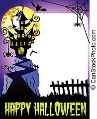 Happy halloween photo frame vertical haunted castle big full...